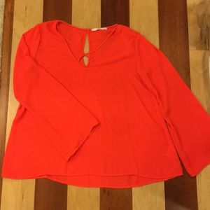 Lush Bell-Sleeve Blouse in Bright Poppy